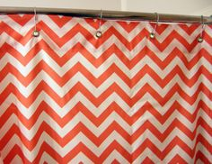 Coral chevron shower curtain - going to make it myself. Coral Chevron, Premier Prints, Roomspiration, New Homes, Decorating Ideas, Shower, Bathroom, How To Make, House
