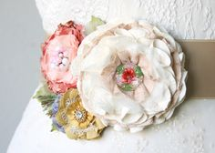 Garden Party Dress Sash with Colorful Fabric Flowers