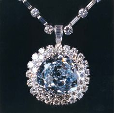 The Idol's Eye Diamond. 70.20 carats, light blue, semi-triangular modified antique brilliant. 86 white diamonds totaling 35 carats (specs from Wiki, take them as you will)