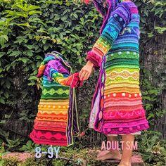Crochet Coat, Crochet Fall, Crochet Clothes, Knitting Yarn, Knitting Ideas, Rainbow Crochet, Freeform Crochet, Knit Picks, Cardigan Pattern