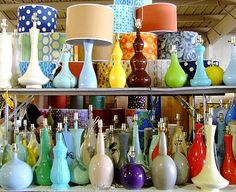 Colorful vintage lamps