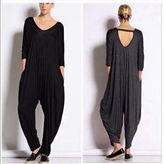 Black Jumpsuit Romper Super soft and easy to slip into is this black jumpsuit nwot with cut out back details . Size S M L . Charcoal also available . You will love this easy jumpsuit . Vivacouture Pants Jumpsuits & Rompers