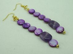 One of a Kind Amethyst & Shell Gemstones Earrings Designer Jewelry, Handcrafted Jewelry Design 2471MJ