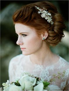Stunner bride and up do with jewel hairpiece by Olivia Headpieces. #wchappyhour #weddingchicks http://www.weddingchicks.com/2014/06/25/wedding-chicks-happy-hour-20/