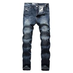 DSEL Brand ripped jeans for men high quality blue color jeans men size 40 38 brand design denim biker jeans mens pants 988 Mens Skinny Ripped Jeans, Biker Jeans Men, Slim Jeans, Men Pants, Cheap Online Clothing Stores, Womens Trendy Tops, Buy Jeans, Striped Jeans, Casual T Shirts