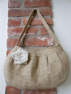 Handmade Buttercup Burlap  Bag by Joanna1966 on Etsy, $25.00