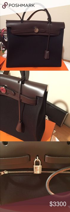 Authentic Hermes Herbag Black with brown leather Authentic Hermes Herbag Black canvas with brown leather. Size 31 *small size. Almost like new. Year 2016. Only used once. This bag is currently on waiting list.  Will come with dust bag, box, shopping bag and receipt.  No trades. Serious buyers only. No offers. Buy it now. Thanks. Hermes Bags Shoulder Bags