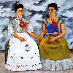 """""""Las Dos Fridas""""de Frida Kahlo. Oleo sobre lienzo. Dimensiones:173 x 173 cm. Este doble autorretrato nos permite ver a la Frida europea y la otra la Frida mexicana. A través del contraste de los elementos construidos en esta obra podemos aprender mas sobre la cultura y la historia de latinoamericana. Se puede proponer que...a la manera de Frida se analice y se realice una versión actual inspirada en esta fabulosa obra!"""