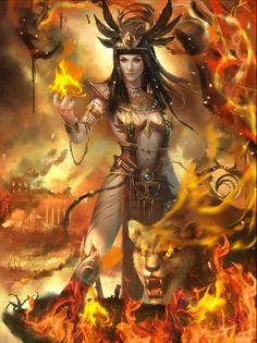 Sekhmet Gothic Fantasy Art, Fantasy Art Women, Fantasy Girl, Dark Fantasy, Egyptian Mythology, Egyptian Goddess, Fanart, Pagan Art, Wolf