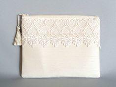 Ivory Clutch Silk Clutch Lace Clutch Wedding by SunlitSerenade