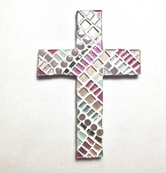 First Communion Gift, Pink Mosaic Wall Cross, Keepsake Goddaughter Gift, Baptism Gift Girl, Baptism Gift from Godmother, Decorative Cross #christiangifts #mosaicwallcross #religiouseaster #firstcommuniongirl #firstcommunion #religious #adultbaptism #etsy