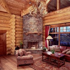 log home living room - Google Search