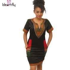 2016 African dresses for women Vintage Dashiki Dress Robe Casual African Print Ladies Indian Dresses Plus Size Women Clothing