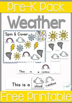 The fabulous free printable weather theme pre-k pack has so many things in it! Sight words, matching, patterns! This will be perfect for our weather unit.