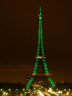 Eiffel Tower dressed in green