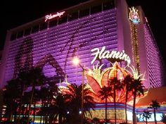 The Flamingo Las Vegas is a hotel & casino located right on the Las Vegas strip. The property offers hotel rooms, and the architectural theme is reminiscent of the Art Deco and Streamline Moderne style of Miami and South Beach Las Vegas Deals, Las Vegas Vacation, Las Vegas Nevada, Vacation Trips, Vacation Spots, Vacations, Flamingo Casino, Flamingo Hotel, Flamingo Resort