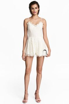 On the right person this is going to blow minds!  Lace playsuit - Natural white - | H&M GB