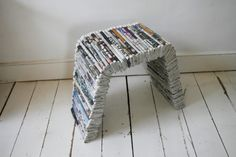Series of furniture out of newspapers. The concept is to reuse the free newspapers we get in the street. Because of the large number of newspapers stacked, the whole structure is strong and can support several persons.