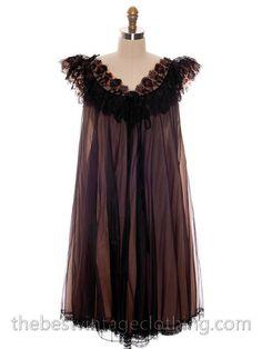 Vintage Nylon 2PC Peignoir Saks Fifth Ave Black 1950s Sheer Lucie Like M