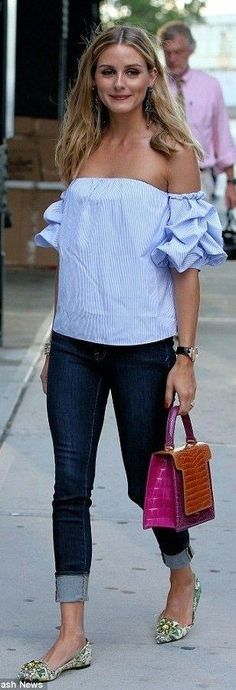 #summer #chic #style #outfitideas   Pinstripe Off Shoulder Top + Denim