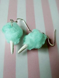 Miniature Food Jewelry Cotton Candy Earrings in Blue Carnival Circus or Fair Jewelry