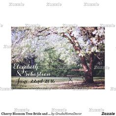 Cherry Blossom Tree Bride and Groom Personalized Canvas Print