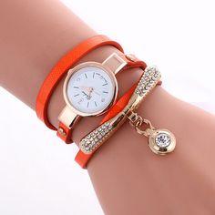 Round Crystal Pendant Fashion Watch