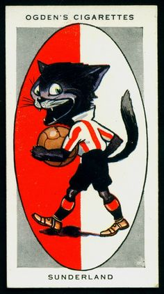 """Ogden's Cigarettes """"AFC Nicknames"""" (series of 50 issued in Sunderland ~ """"The Black Cats"""" Sunderland Football, Sunderland Afc, Football Stickers, Football Cards, Image Foot, Bristol Rovers, British Football, Association Football, Collector Cards"""