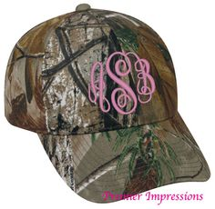 Monogrammed CAMO HAT for Women Monogrammed by PremierImpressions, $16.50