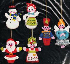 Santa and friends felt ornaments