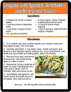 Linguine with Spinach, Artichoke& Red Lentil Sauce