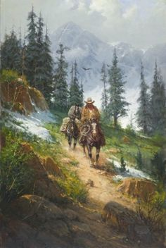 """Harvey Handsigned and Numbered Limited Edition Giclee on Canvas:"""" Spring in the Rockies """" Artist:G. Harvey Title: Spring in the Rockies Edition::S/N Canvas t Native Art, Native American Art, American History, Cowboy Horse, Cowboy Pics, Cowboy Images, West Art, Cow Girl, Polychromos"""