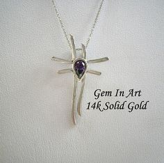 White Gold CrossAmethyst gold crosssolid gold crosskatana Art Designs, White Gold, Gems, Trending Outfits, Unique Jewelry, Handmade Gifts, Pendant, Vintage, Art Projects
