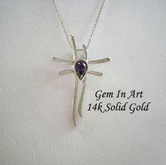 White Gold CrossAmethyst gold crosssolid gold crosskatana