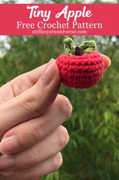 Crochet Toys Design Crochet Apple - Free Mini Amigurumi Pattern - Stella's Yarn Universe - This fun little crochet apple is the perfect project for Amigurumi beginners! But even if you are a pro you can have lots of fun with this! Crochet Apple, Crochet Fruit, Crochet Leaves, Crochet Food, Cute Crochet, Crochet Flowers, Autumn Crochet, Crochet Gifts, Crochet Keychain Pattern