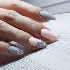 inch NAILS FRENCH grey and pink matte finish with contrasting florals. Now😚😚😚 Nails, nail art designs, nail designs, nail art, nail designs acrylic Spring Nail Art, Spring Nails, Gorgeous Nails, Pretty Nails, Hair And Nails, My Nails, Diva Nails, Funky Nails, Almond Acrylic Nails