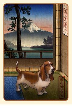 Basset Hound Japanese Styled Print by ChetArt on Etsy, $18.00