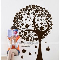 Happy Tree With Bird Wall Stickers