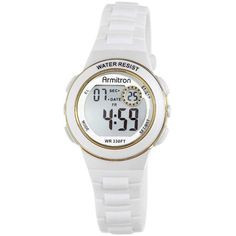Armitron Pro-Sport Womens White Resin Strap Chronograph Sport Watch... ($26) ❤ liked on Polyvore featuring jewelry, watches, digital watch, armitron watches, white chronograph watch, sport watch and sport watches