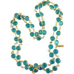 Swarovski Crystal Necklace Bezel Set Teal / Turquoise Stones