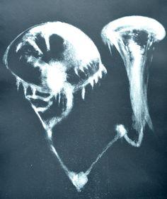 """""""Deux lunes océaniques n°1"""" - Lithogravure (manière noire) réalisée par Aimée Yamamoto. Format 48 x 52 cm."""