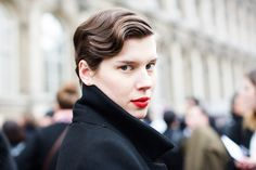 luminous skin and a red lip