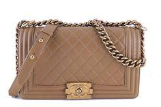 Chanel Caramel Beige Le Boy Classic Flap, Medium Lambskin Bag - Boutique Patina  - 1