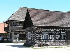 Cicmany, Slovakia home of these painted houses. Painted Houses, House Painting, Globe, Beautiful Places, To Go, Thankful, Cabin, Homes, Windows