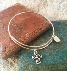 Alex and ani Inspired Cross Charm Bracelet by GrecoGirlJewelry, $13.50