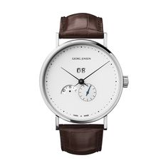 KOPPEL - 41 mm, Automatic mechanical with annual calendar, white dial, brown alligator strap