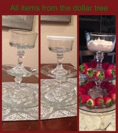 """Made this tiered stand from plates and candle sticks from the dollar tree! I used a glue called """"Goop"""" from Lowes to glue them together. great for chocolate covered strawberries, or dip with dippable snacks Dollar Tree Decor, Dollar Tree Crafts, Decoration Table, Table Centerpieces, Dollar Tree Centerpieces, Dollar Tree Glass Vases, Church Decorations, Wedding Decorations, Tiered Stand"""