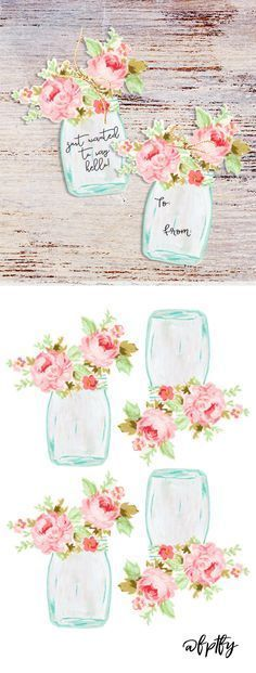 Free Mason Jar Floral Tags- Pretty! - Free Pretty Things For You