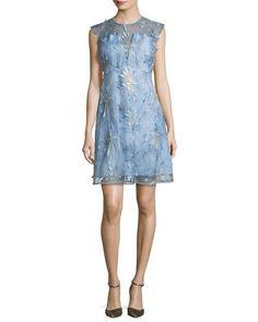 ELIE TAHARI OLIVE FLORAL-APPLIQUÉ LINEN DRESS. #elietahari #cloth #
