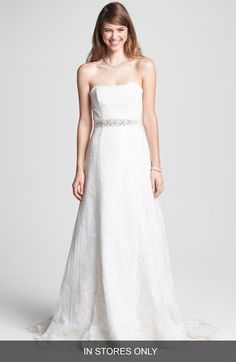 BLISS Monique Lhuillier Strapless Chantilly Lace Wedding Dress (In Stores Only)…